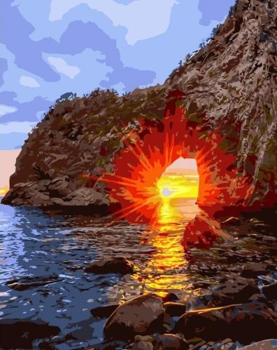 Картины по номерам Захід сонця