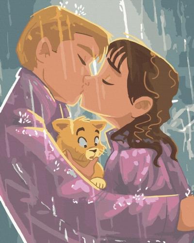 Картины по номерам Поцелуй под дождем