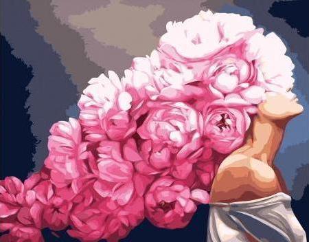 Картины по номерам Девушка с пионами, Эми Джадд