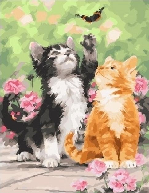 Картины по номерам Весенние котята
