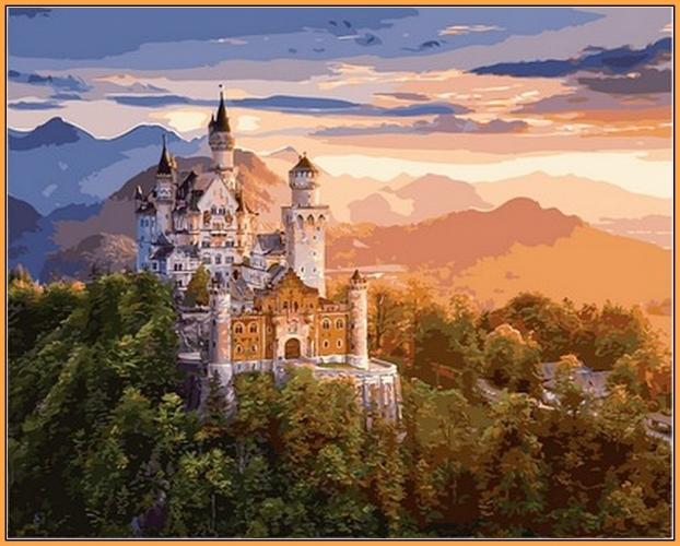 Картины по номерам Замок в лучах заката (в раме)