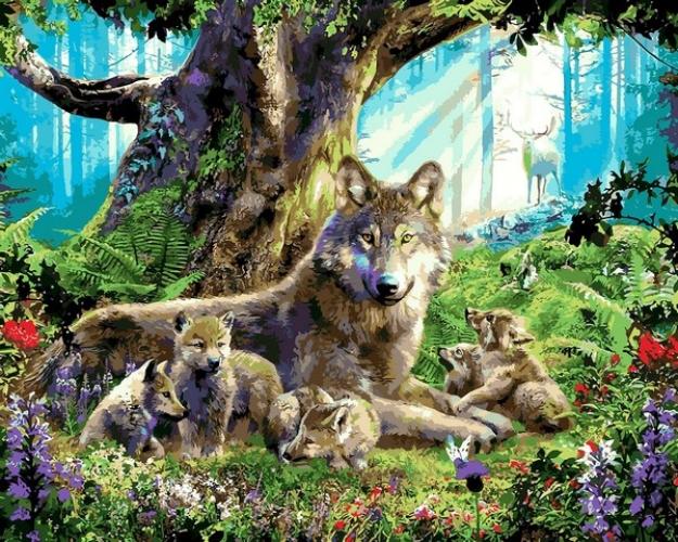 Картины по номерам Волчица с волчатами
