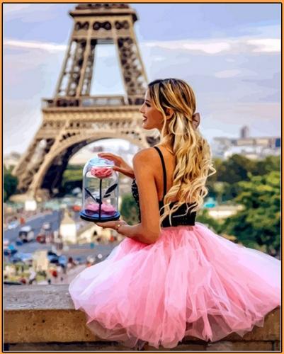 Картины по номерам С цветком в Париже