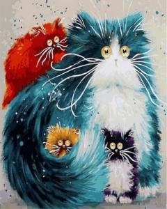 Картины по номерам Мама кошка