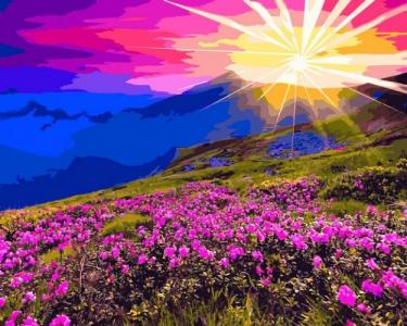 Картины по номерам Рассвет в горах