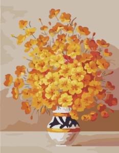Картины по номерам Желтые цветы в вазе