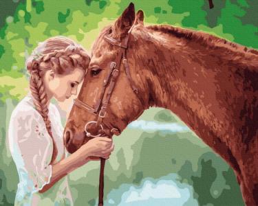 Картины по номерам Юная девица с лошадью