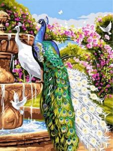 Картины по номерам Сад с павлинами