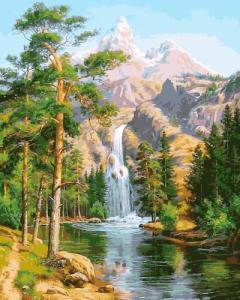 Картины по номерам Водопад в сосновом лесу