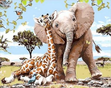 Картины по номерам Слоненок и жираф