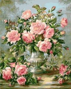 Картины по номерам Розы в серебряной вазе