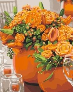 Картины по номерам Оранжевые букеты