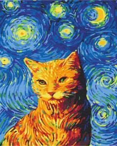 Картины по номерам Кот в звездную ночь
