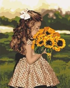 Картины по номерам Девочка с подсолнухами