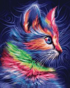 Картины по номерам Разноцветный котенок