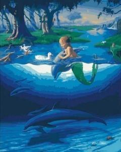 Маленький русал с дельфинами