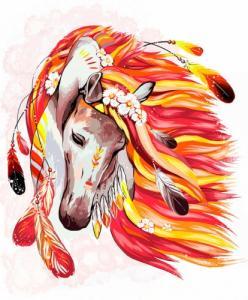 Картины по номерам Огненная лошадь
