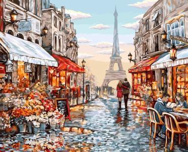 Картины по номерам Цветочный магазин Парижа