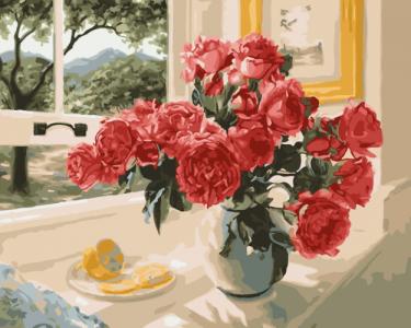 Картины по номерам Розы на подоконнике