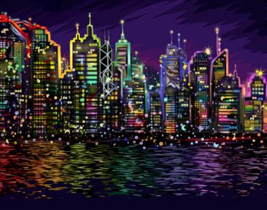 Картины по номерам Ночной город