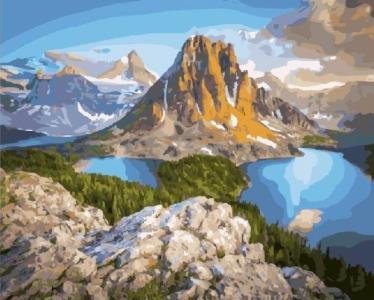 Картины по номерам Озера у скал горы