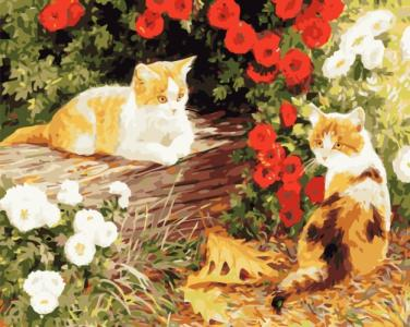 Картины по номерам Пушистики в саду