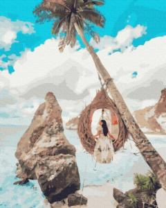 Картины по номерам Девушка на райских остовах