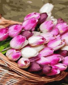 Картины по номерам Корзина тюльпанов