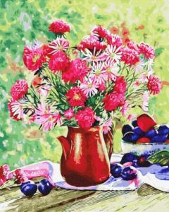 Картины по номерам Цветы и сливы