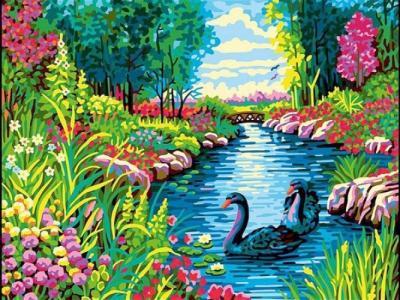 Картины по номерам Черные лебеди
