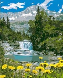 Картины по номерам Горный водопад