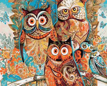 Картины по номерам Яркие совы