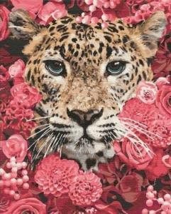 Картины по номерам Леопард в цветах