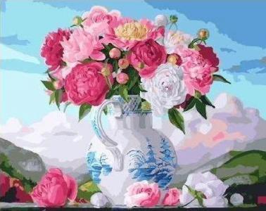 Картины по номерам Букет пионов в вазе