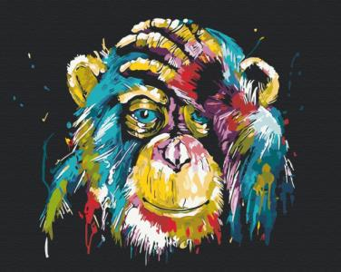 Картины по номерам Красочная шимпанзе