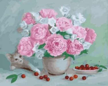 Картины по номерам Цветы,вишни икотёнок
