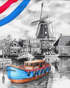 Картины по номерам Лодки у мельницы