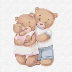 Картины по номерам Счастливая семья медвежат