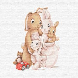 Картины по номерам Маленькая семья кроликов
