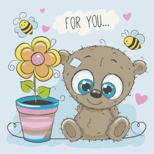 Картины по номерам Медвежонок с цветочком