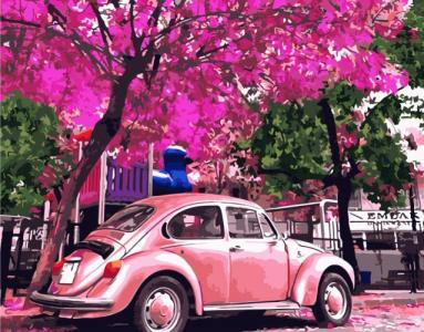 Картины по номерам Рожевий Volkswagen Beetle
