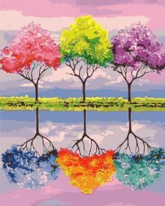 Картины по номерам Деревья ярких мечт
