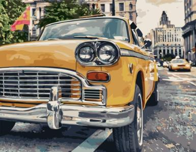 Картины по номерам Жовта ретро машина
