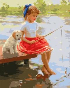 Картины по номерам Дівчинка та песик на містку