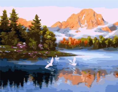Картины по номерам Лебеди на горном озере
