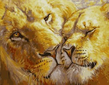 Картины по номерам Закохані леви