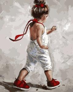 Картины по номерам Дівчинка у червоних черевичках