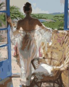 Картины по номерам Ранок в тропіках з дівчиною