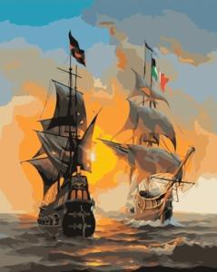 Картины по номерам Встреча кораблей на закате