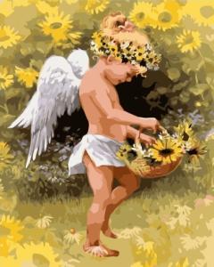 Картины по номерам Маленький янгол у соняшниках